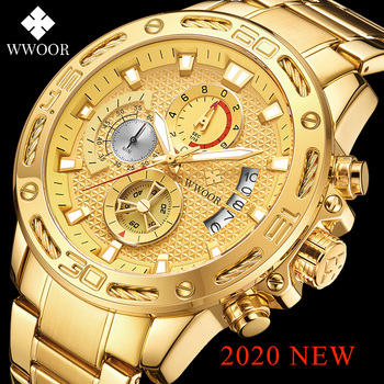 WWOOR 2020 Fashion Mens Watches Top Brand Luxury Gold Full Steel Quartz Watch Men Waterproof Sport Chronograph Relogio Masculino relogio masculino wwoor luxury mens analog quartz business gold wrist watch men full steel waterproof sports watches male clocks
