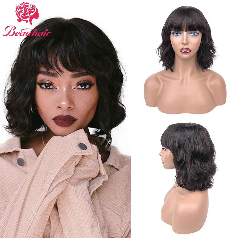 Short Bob Wig Human Hair Ocean Wave Wigs Peruvian 100% Human Hair Wig Natural Color Pre-Plucked With Bangs For Women Curl Hair