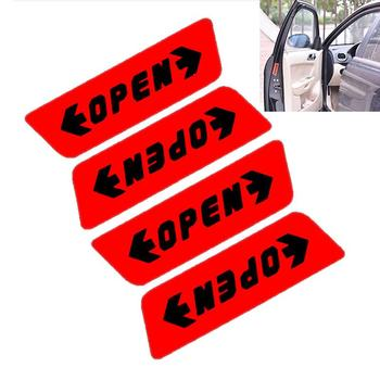 4Pcs/1Set Car Sticker Auto Decor Door Open Warning Red Color Car-Styling Reflective Open Sticker image