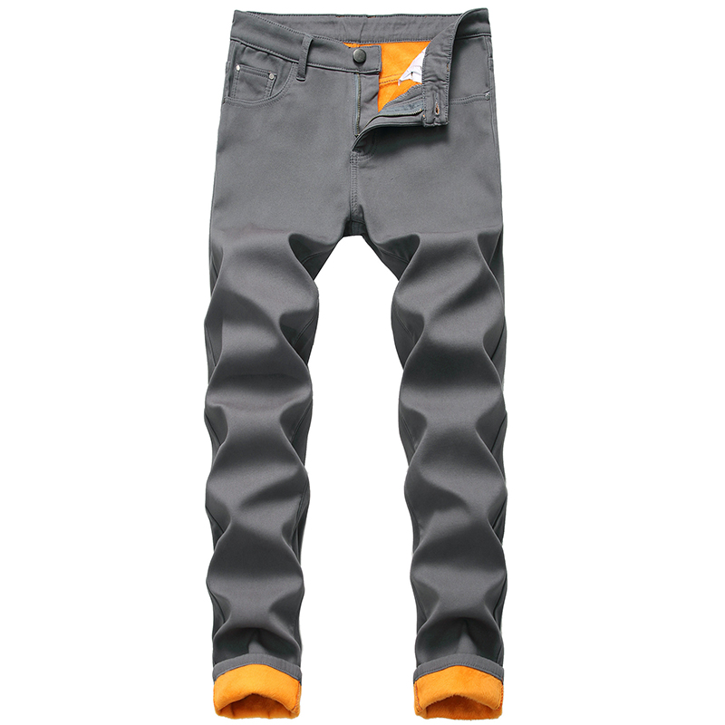Men Warm Jeans Autumn Winter Straight Slim Thick Men Denim Pants Large Size Plus Velvet Fashion New Brand Jeans