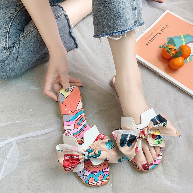 2020 new luxury fashion brand design women's sandals Korean bow flat H-shaped slippers high quality ladies shoes 1
