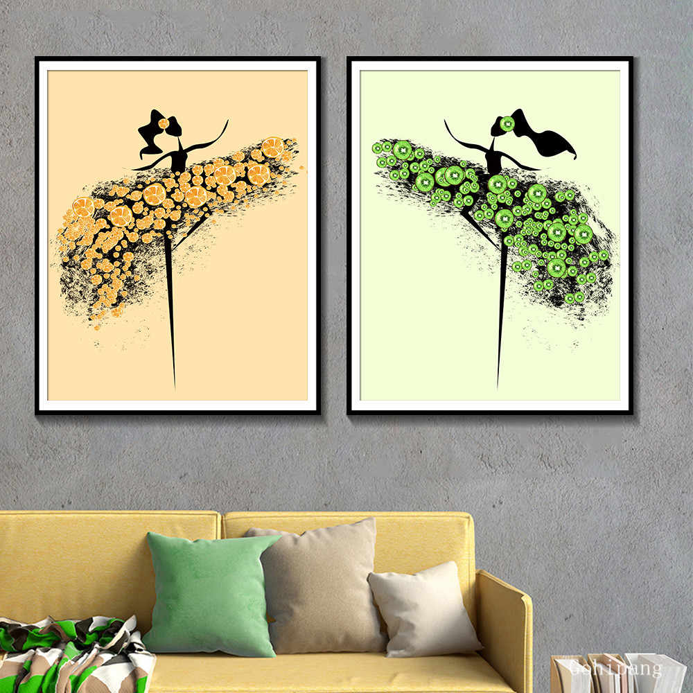 Абстрактная танцовщица настенные художественные плакаты и принты фрукты