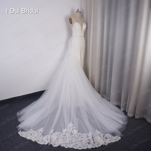 Image 4 - Detachable Train Sheath Wedding Dress High Quality Lace Low Back Deep V Neckline