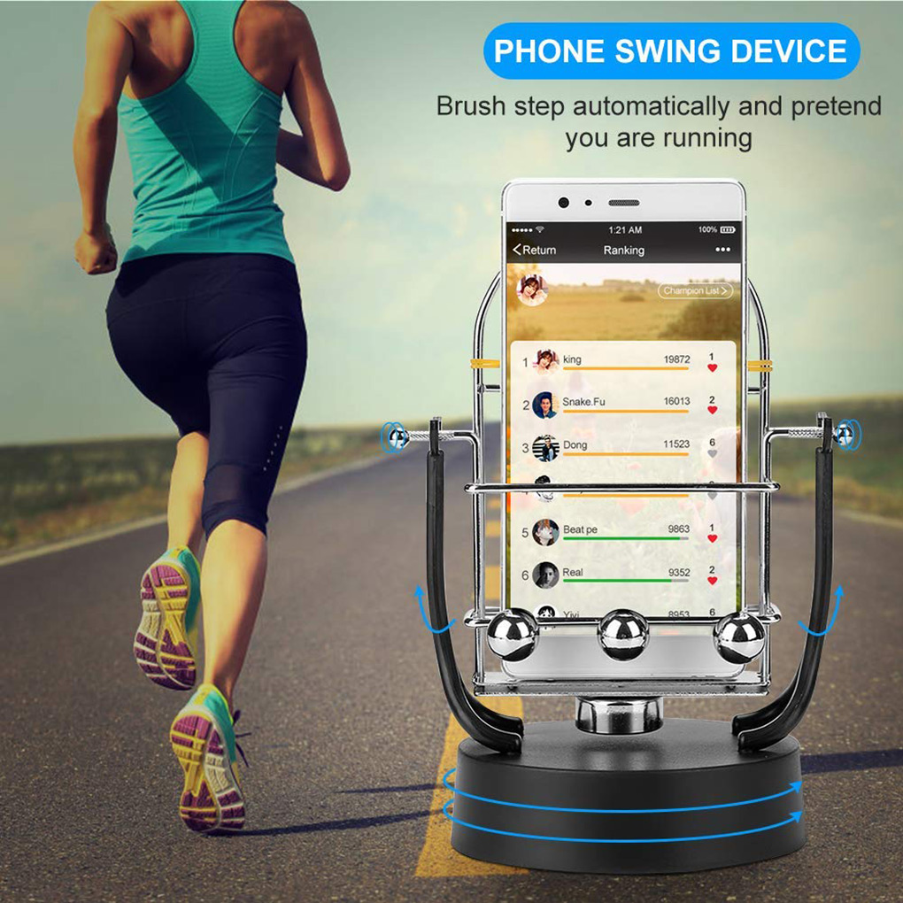 Stop Motion Stand Shaker Mobile Phone Wiggle Device Automatic Phone Swing Motion Step Increasing Shake Pedometer Holder
