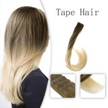 Vlasy 20'' 2.5g/pc Adhesive Invisible Skin Weft Hair Extensions Coffee & Cream Balayage Color Brown Mix Blonde Double Drawn Hair