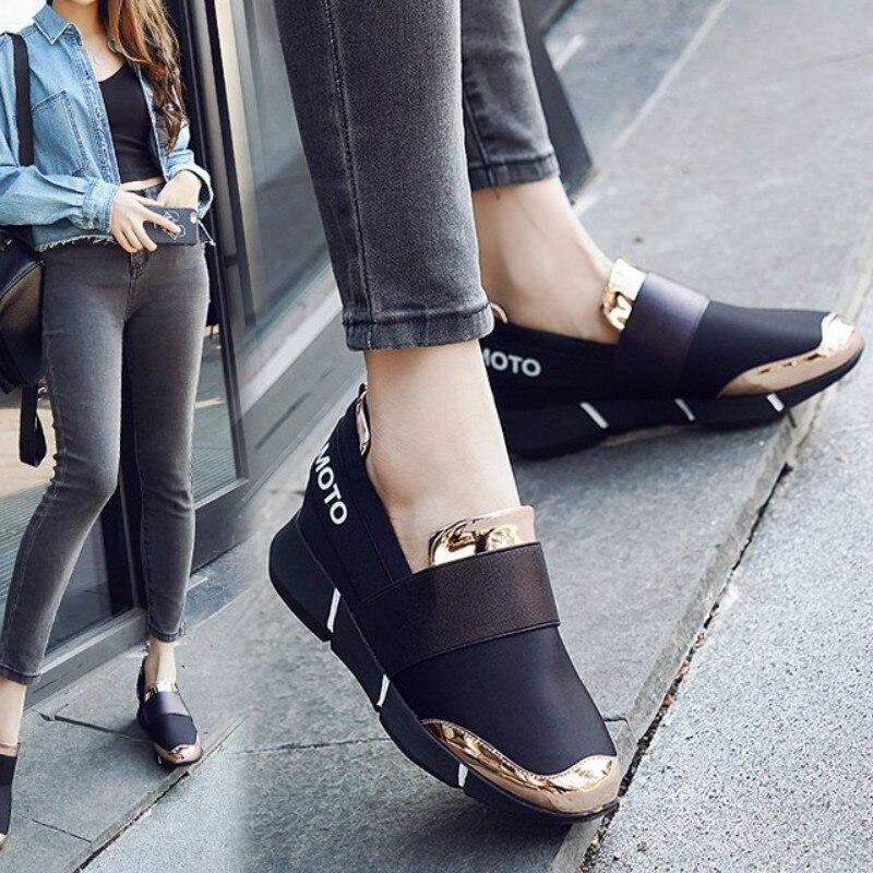 WDHKUN Women Femine Slip-On Casual Thicken Soft Soled Plimsolls Moccasin Zapatillas Flat Lazy Leisure Flattie Shoes A157