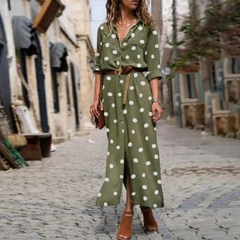цена на Women Summer Dot Print Long Sleeve Button Long Dress Party Beach Dress Vintage Polka-Dot Women'S Dresses Sukienki Damskie