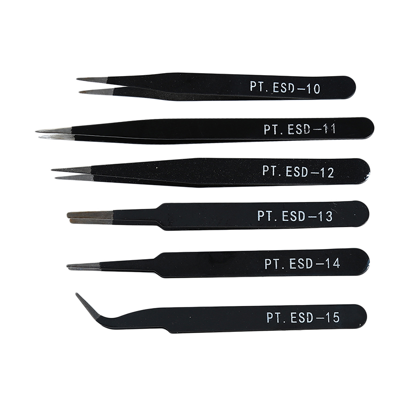 Anti-Static Carbon Steel Tweezers Electronics Industrial Precision Curved Straight Tip Phone Maintenance Repair Hand Tool