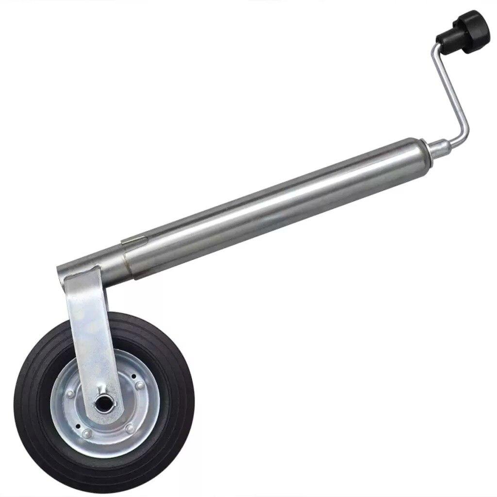 Galvanised Steel Jockey Wheel With 1 Split Clamp For Small Medium Trailers Caravans 48mm