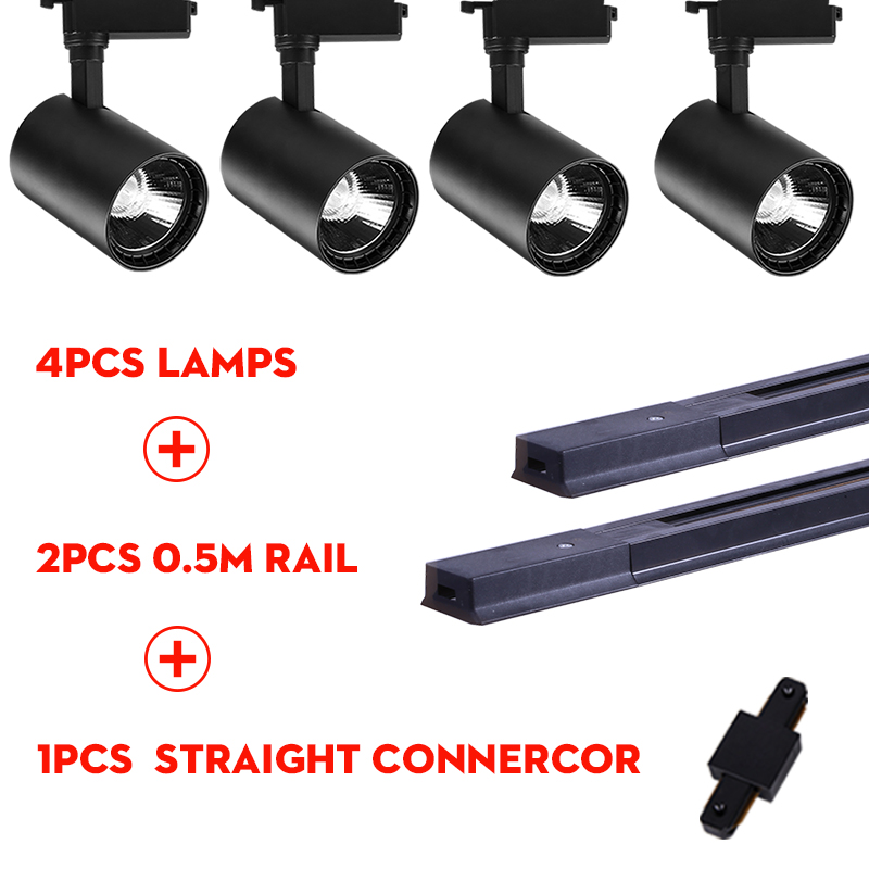 Whole Set COB 12W 20W 30W 40W Led Track Light Aluminum Ceiling Rail Track Lighting Spot Lights Replace Halogen Track Lamps