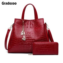 Gradosoo Purses and Handbags Women 2Sets Crocodile Tote Bag Female Large Shoulder Crossbody For Leather New HMB639