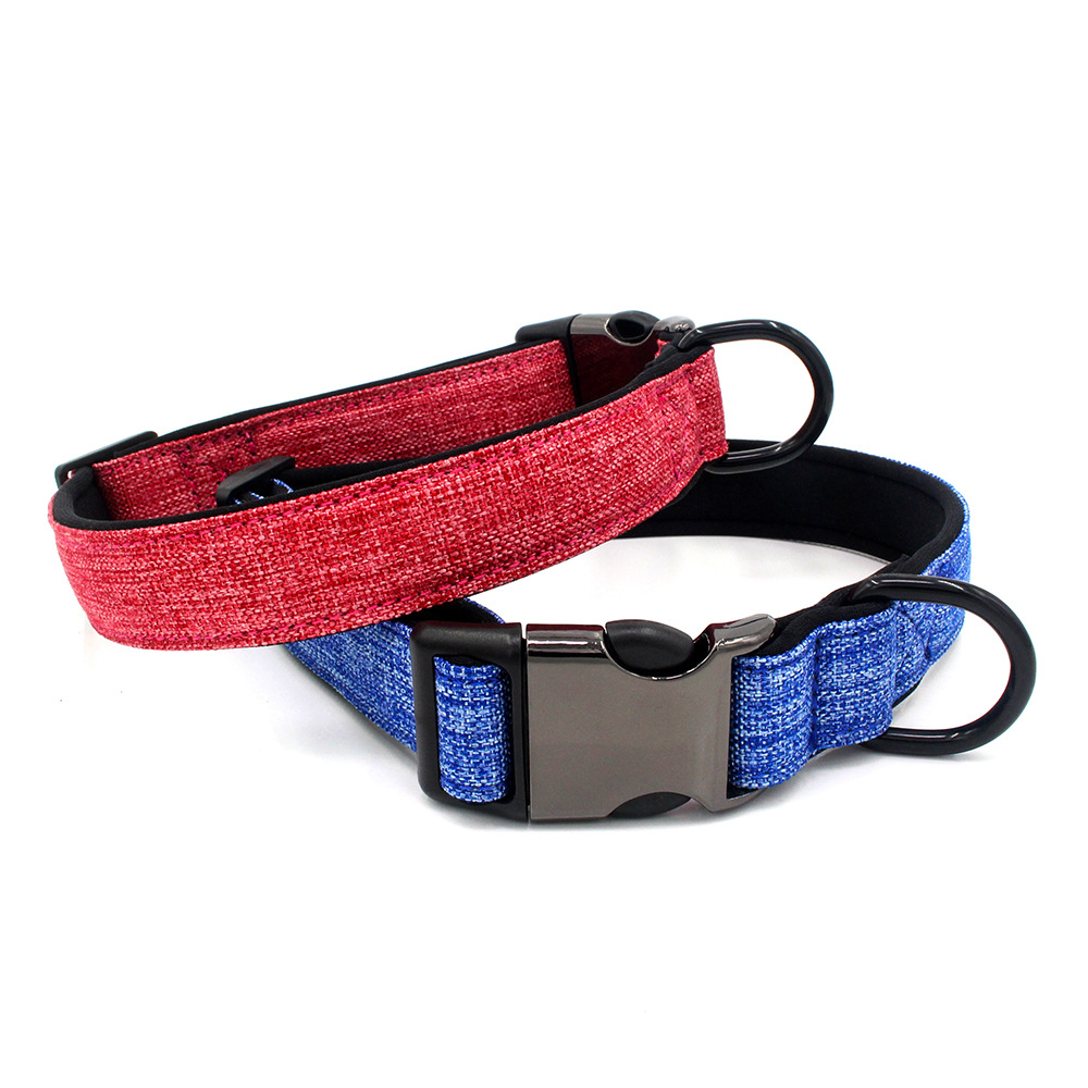 New Style Can Imprint Logo Comfortable Canvas Pet Collar Diving Cloth Lining Dog Neck Ring Collar Pet Supplies
