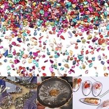 20g металлической щебень сломанной Стекло камни с украшением в виде кристаллов УФ-отверждаемая эпоксидная смола наполнитель нейл-арта украш...