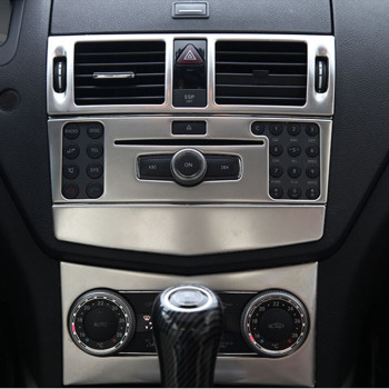 Car Styling Center Console Air Conditioner CD Panel Cover Trim 3Pcs For Mercedes Benz C Class W204 C200 C260 C300 C180 2007-2010 1