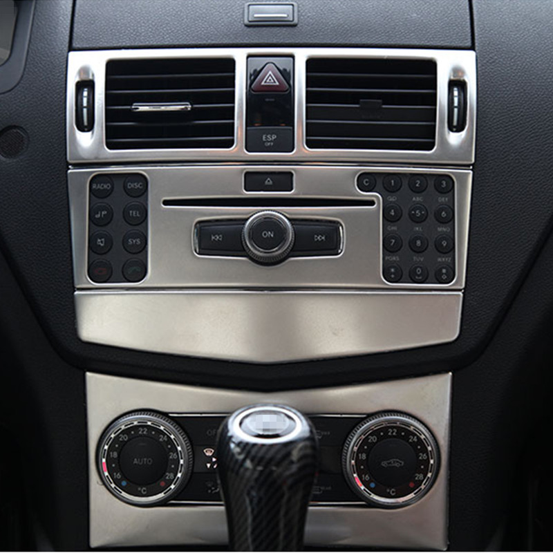 Car Styling Center Console Air Conditioner CD Panel Cover Trim 3Pcs For <font><b>Mercedes</b></font> Benz C Class W204 C200 C260 <font><b>C300</b></font> C180 2007-2010 image