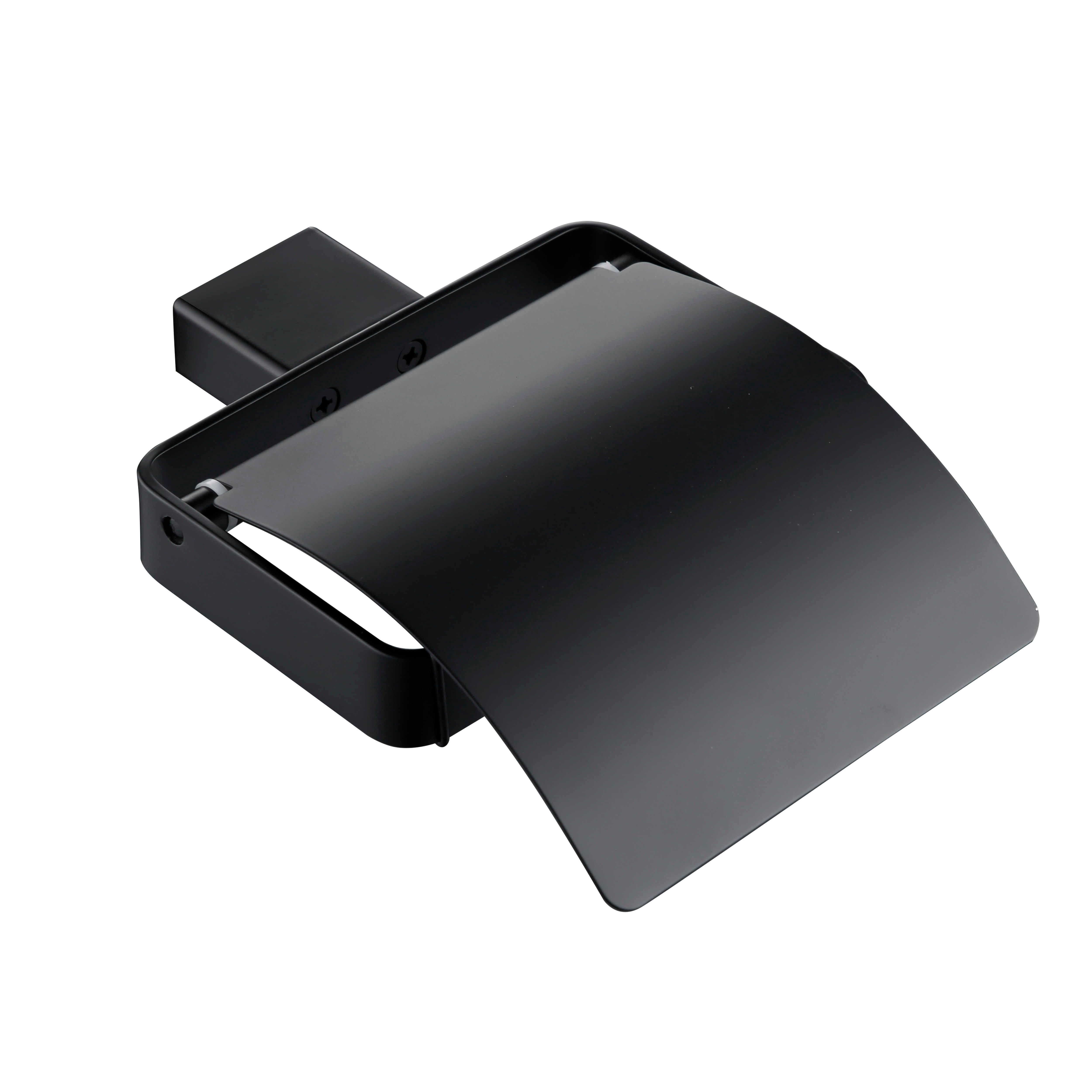 אביזרי אמבטיה חומרה להגדיר מט שחור SUS304 נירוסטה נייר מחזיק מברשת שיניים מחזיק מגבת בר רחצה מדפים