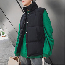 Winter Vest Men Warm Fashion Thick Parker Solid Color Casual Stand Collar Jacket Man Wild Loose Cotton Gilet Coat Male S-5XL