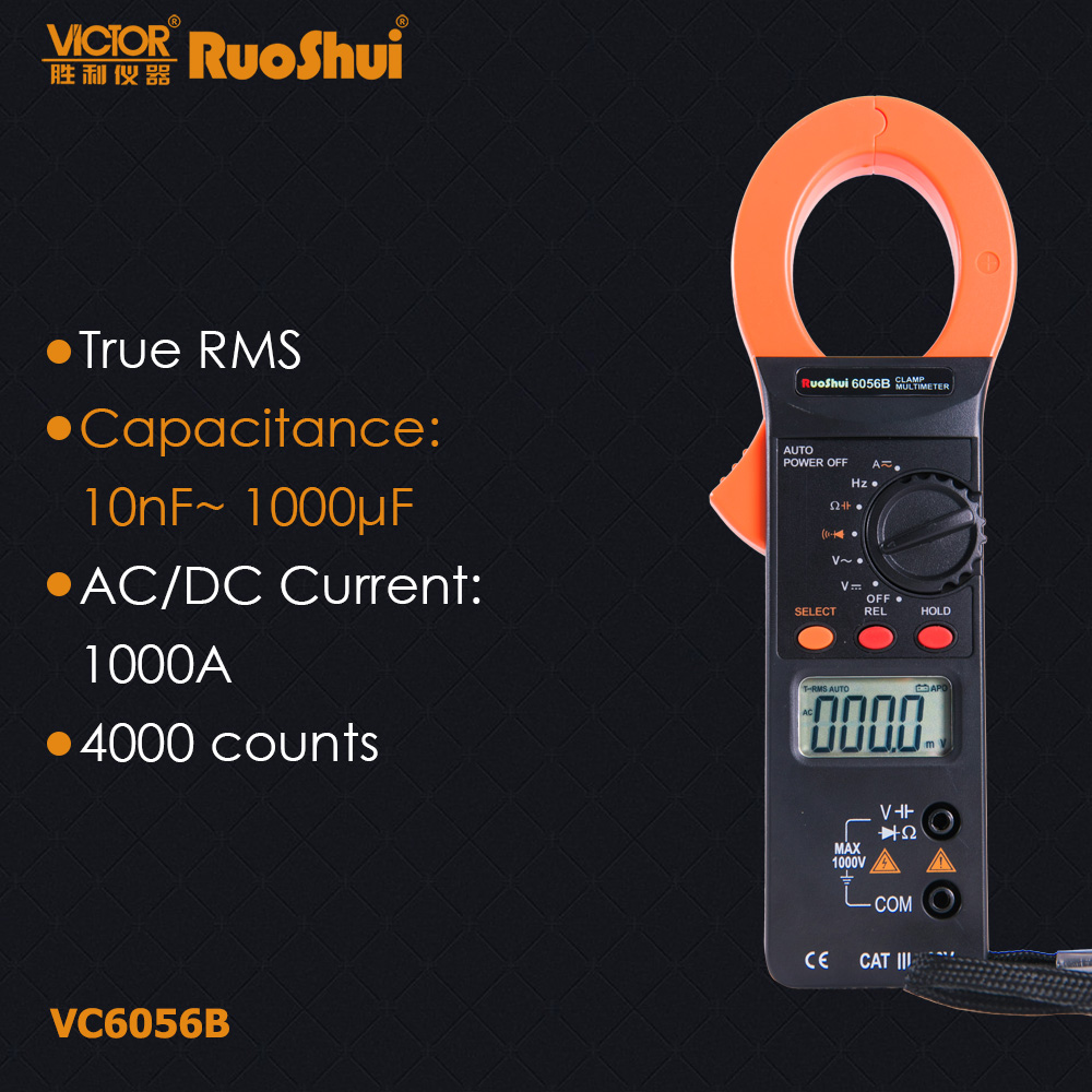 RuoShui VC6056B True RMS Digital Multimeter Current Clamp ampere Meter AC DC 1000A Amperimetro Capacitance Frequency Electrical