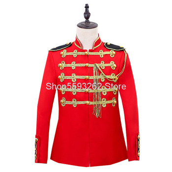 European Style Court Pack Military Ceremony Clothing Male Performance Clothing Photo Studio Men #8217 s Wear Host Red Inlay Golden tanie i dobre opinie SILK Szyfonowa National costume Four Seasons Polyester Fiber (polyeste