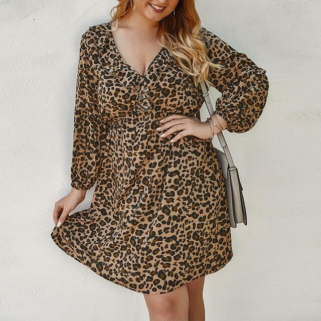 Summer Dresses Woman Party Night Plus Size Women Fashion Leopard Print Long Sleeve V-Neck Casual Ruffled Sundress Dress Z0224