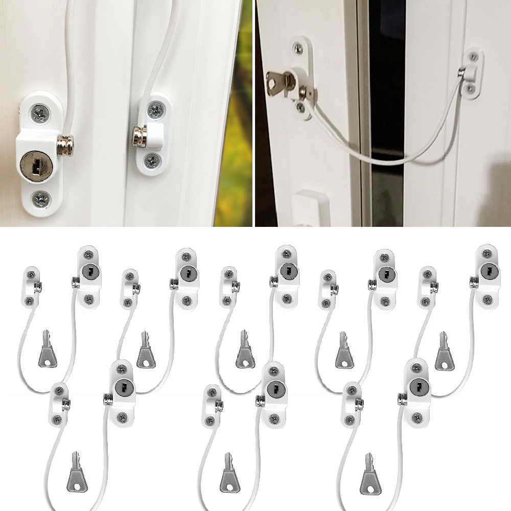 8Pcs/Lot Window Locks Children Protection Lock Stainless Steel Window Limiter Baby Safety Infant Security Window Locks Products