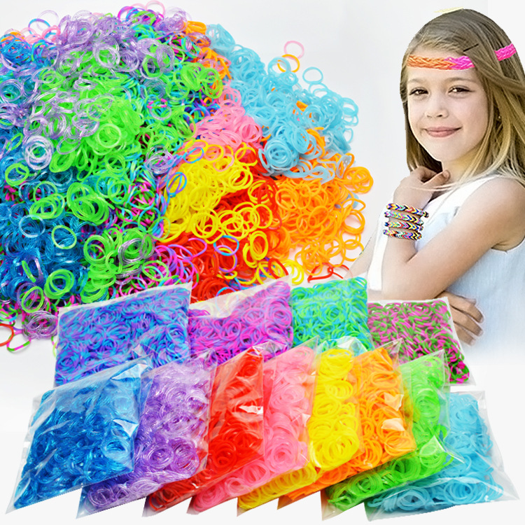Retail Rianbow Diy Toys Rubber Bands Bracelet For Kids Hair Rubber Loom Bands Refill Rubber Band Make Woven Bracelet DIY Gift