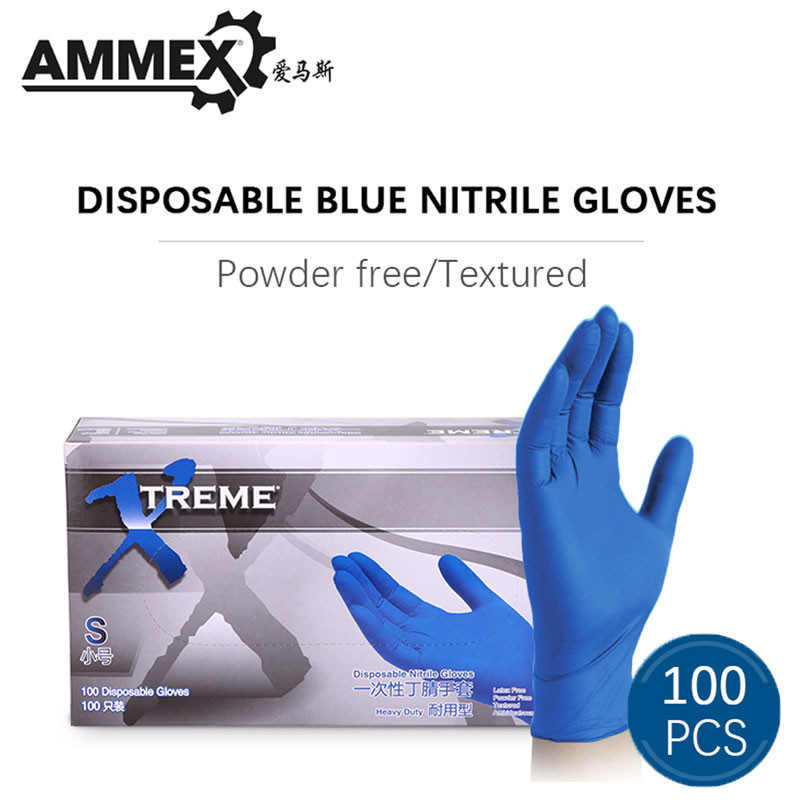 AMMEX Disposable Gloves Nitrile For Home Cleaning Rubber Garden Safety Work Gloves Universal For Left And Right Hand