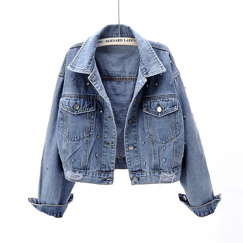 Pearl Beading Short Denim Jackets Women Blue Washed Long Sleeve Vintage Casual Jean Jacket Bomber Denim Coat Female Top Outwear