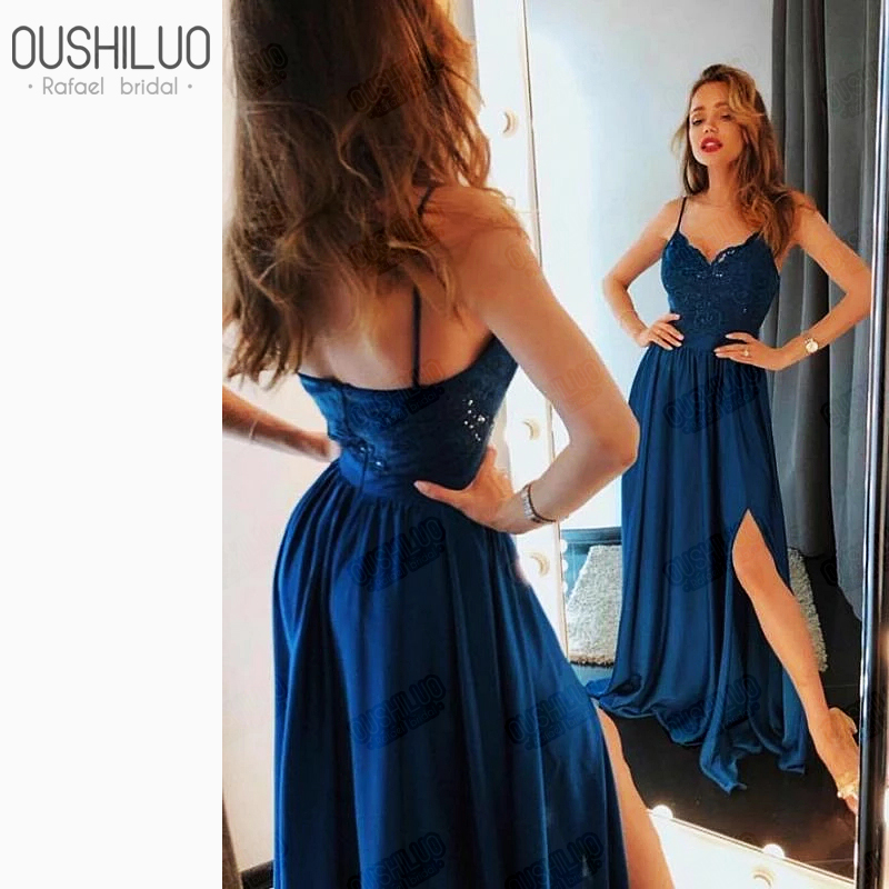 Royal Blue Lace   Prom     Dresses   Spaghetti Strap Sweetheart Backless Side Split A Line Sweep Train Long Party Wear For Young Lady
