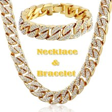 2020 Hip Hop 18K Gold Plated Iced Out Shiny Full Simulated Clear CZ Miami Cuban Link Chain Necklace & Bracelet Mens Jewelry Sets(China)