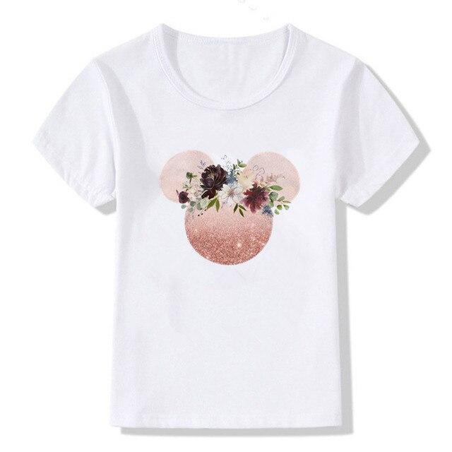 T-shirt enfant   Mignon, estival et Hipster, avec image de fleur imprimée léopard, Mickey Mouse, à la mode, oreilles