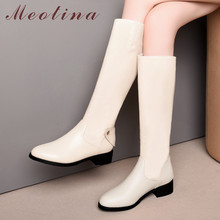 Meotina Winter Knee High Boots Women Natural Genuine Leather Thick Heel Riding Boots Zipper Round Toe Shoes Lady Autumn Size 43 недорого