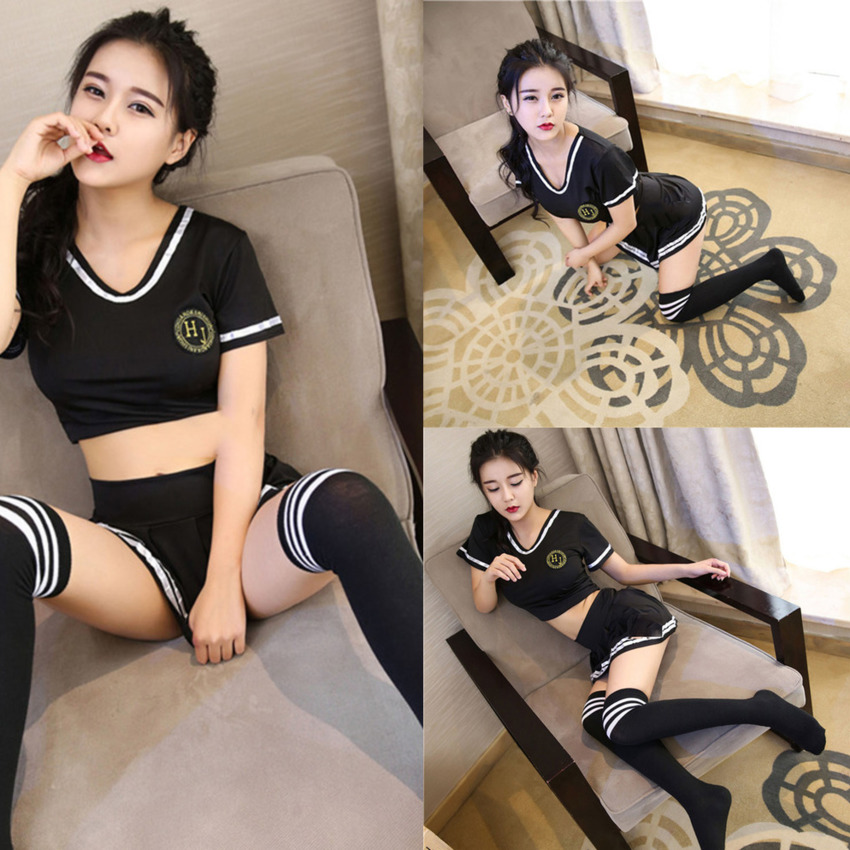 2020 Japanese Style Sexy School Uniform For Women Cheerleader Clothing Set Girls Dirndl Cosplay Costumes Tops+Skirt Erotic Suits