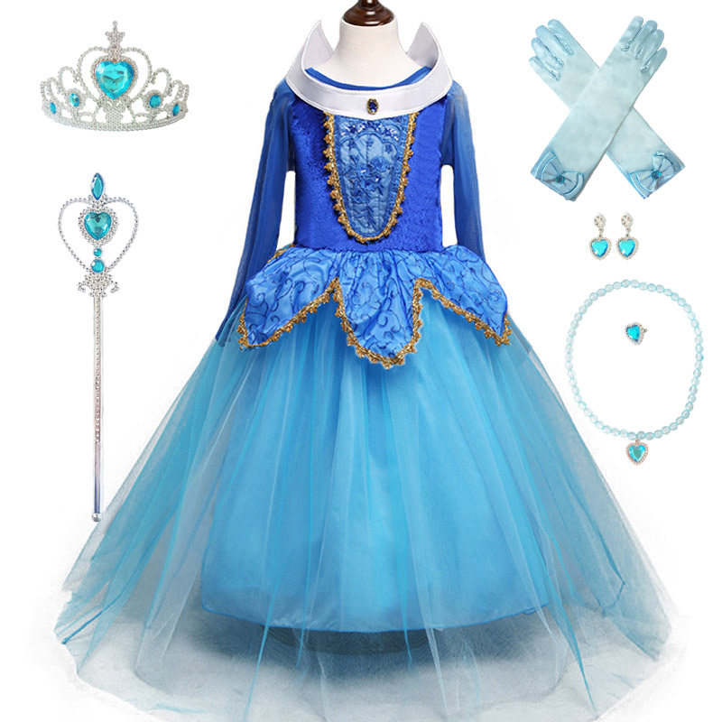 Image 4 - 3 10Y Girl Aurora Princess Costume Kids Sleeping Beauty Cosplay Dress Halloween Christmas Dress Children Birthday Party DressDresses   -