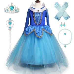 Image 4 - 3 10Ys ילדה אורורה נסיכת תלבושות ילדים שינה יופי קוספליי שמלת ליל כל הקדושים חג המולד שמלת ילדי מסיבת יום הולדת שמלה