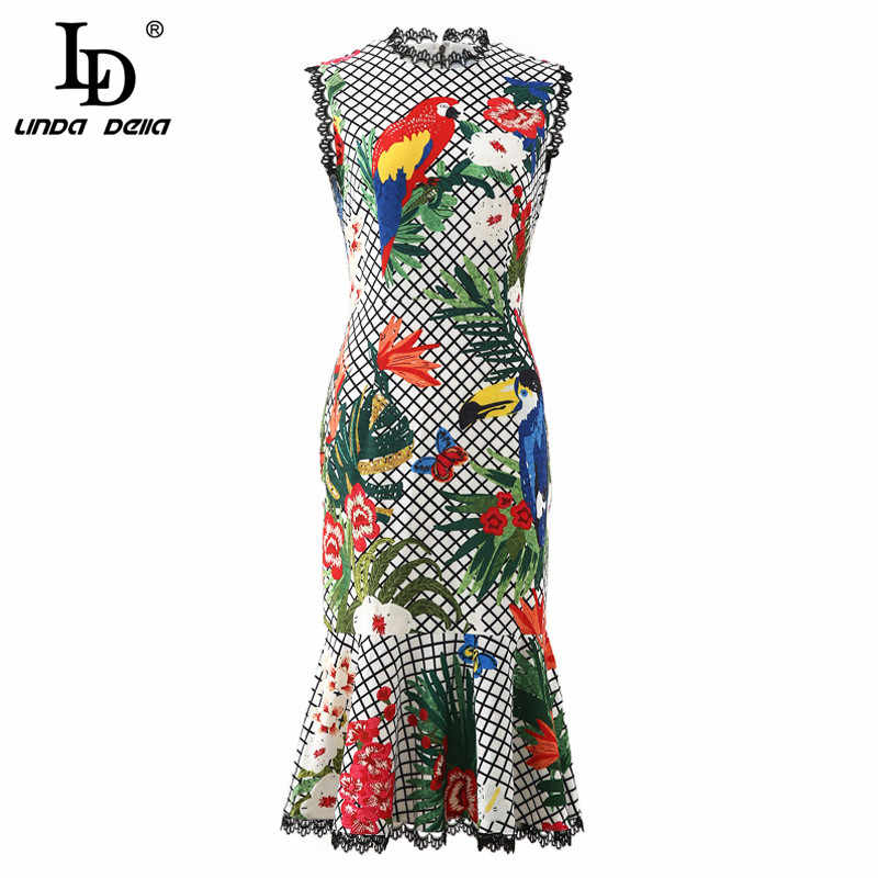 Ld Linda Della Fashion Runway Zomer Jurk Vrouwen Mouwloze Plaid Dier Bloemenprint Kant Mermaid Party Ruches Jurk Bodycon