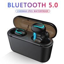 블루투스 이어폰 TWS 무선 블루투스 5.0 이어폰 핸즈프리 헤드폰 스포츠 이어 버드 게임용 헤드셋 전화 PK HBQ