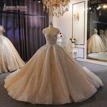럭셔리 웨딩 드레스 무거운 구슬 샴페인 두바이 웨딩 드레스 2020 실제 작업 사진