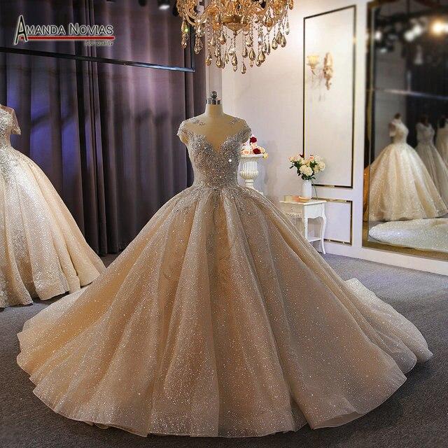 فستان زفاف فاخر ثقيل مطرز بالخرز الشمبانيا دبي فستان الزفاف 2020 صورة عمل حقيقية