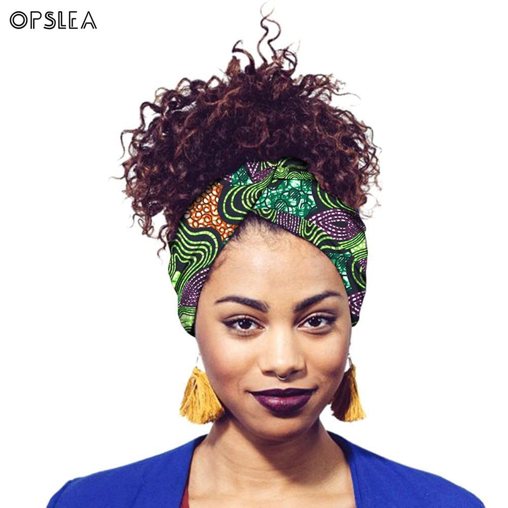 Opslea Dashiki African Women Print Cotton Turban Headband Hair Strap African Head Wraps Batik Dyeing Tribal Printed Headscarf