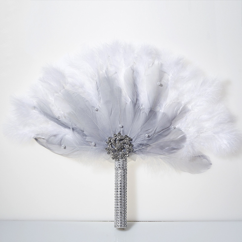Vintage Bridal Feather Bouquet Decorative Fans Crystal Bridesmaid 20s Gatsby Wedding Bouquet Flapper Accessories Cosplay Props