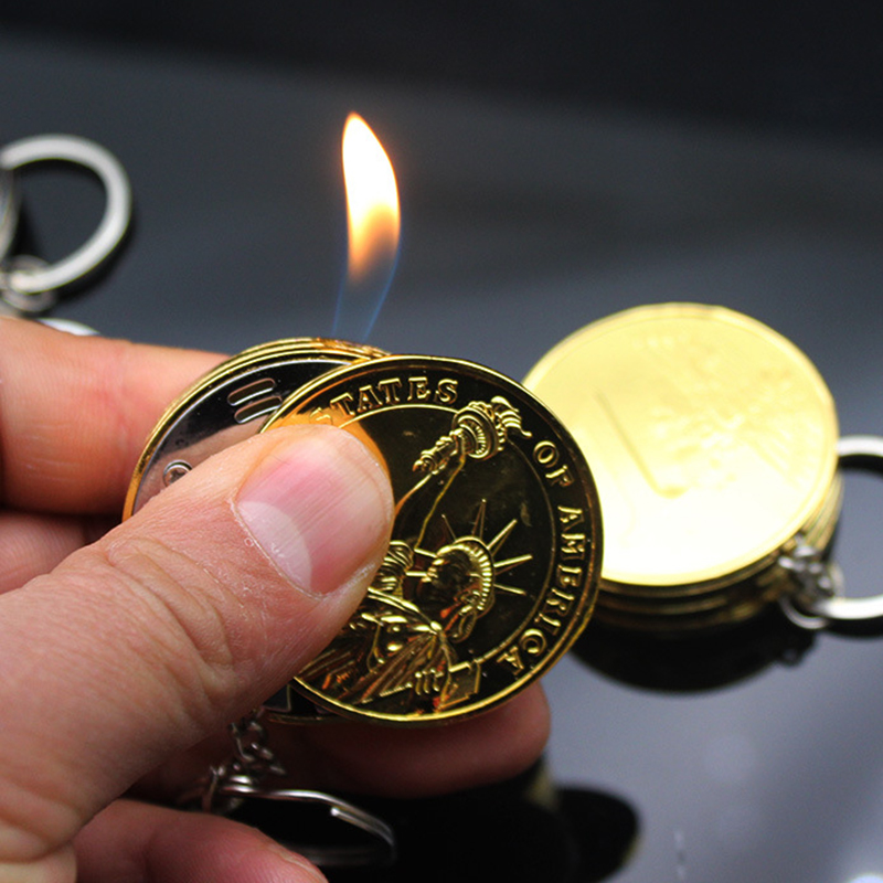 New Metal Free Fire Butane Lighter Keychain Creative Compact Gas Lighter Inflated Jet Pendant Coin Bar One Dollar Gift Key Chain