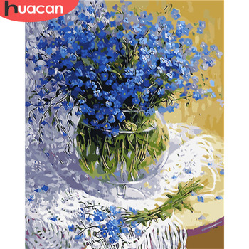 HUACAN Pictures By Numbers Oil Painting Flowers HandPainted Coloring Drawing Kits Canvas DIY Home Decoration Gift SZHC702