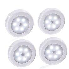4pcs 6 LED Smart Motion Sensor Night Night Induction led Lamp Bedroom Closet Corridor Cabinet Kitchen Stairs Hallway Toile Light