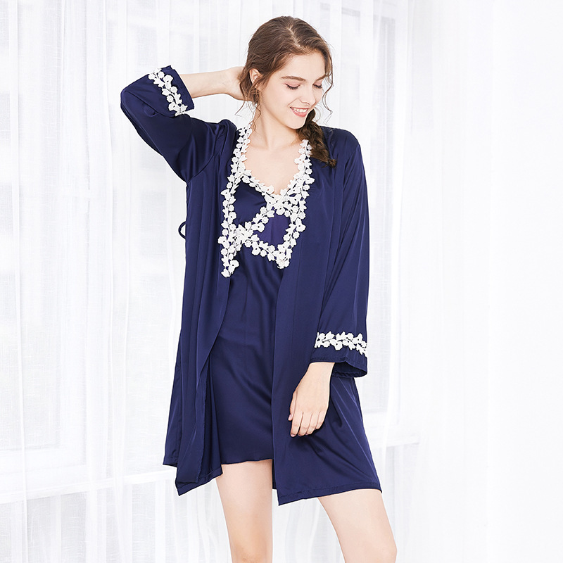 Women's Sleepwear Strap Nightdress Nightgown Two-Piece Set Silk Thin Home Wear