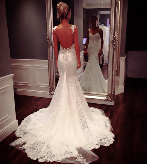 Sexy Backless Mermaid Wedding Dresses With Lace Strap 2015 Luxury Crystal Bridal Dresses Long Vestido De Noiva Sereia Buyer Show
