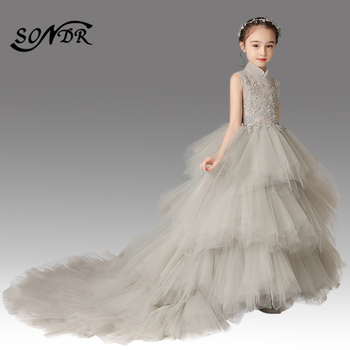 Luxury Flower Girl Dresses HT055 First Communion Party Decorations Princess Dress Lace Tiered Flower Girls Dress With Train vintage long train tiered floral first communion flower girl dress kid toddler backless evening prom gown party occasion frocks