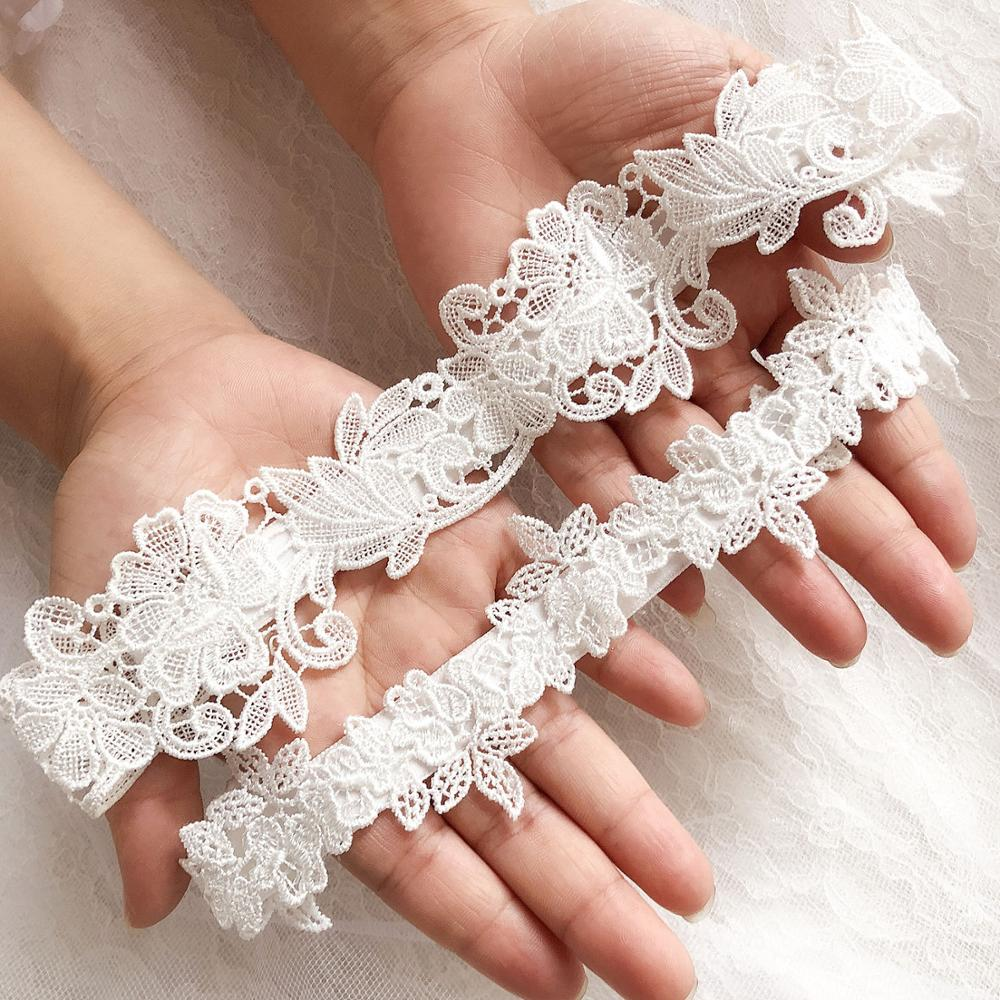 New 2Pcs/Set Women Wedding Bridal Leg Garters Lace Flower Hollow Out Elastic Band Black White