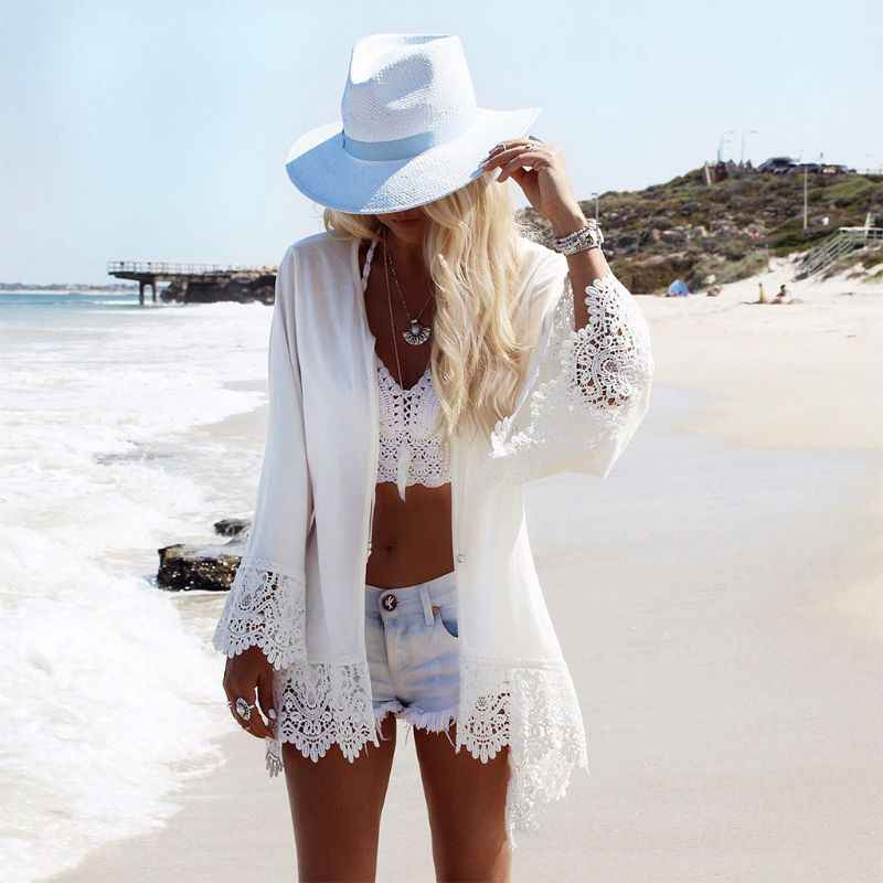 Womens Vacation Open Front Kimono Cardigan Ethnic Eagle Print Beach Swimsuit Cover Up Hollow Crochet Lace Trim Beach Tops