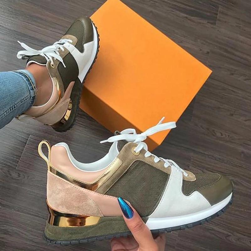 Femmes Sneaker automne décontracté respirant daim en cuir plate-forme chaussures de Sport mode course à pied à lacets dames chaussures baskets